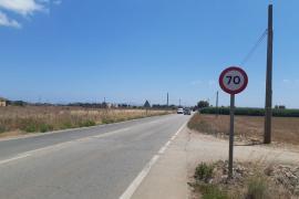 Reducen la velocidad a 70 kilómetros por hora en la carretera de entrada a sa Pobla