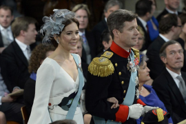 Denmark's Crown Prince Frederik and Crown Princess Mary arrive to attend a religious ceremony at the Nieuwe Kerk church in Amste