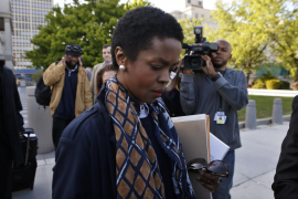 Hip hop artist Lauryn Hill leaves United States Court after a sentencing on federal tax evasion charges in Newark