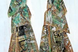 Miró y Vicente miran hacia la mujer payesa y el campo ibicenco