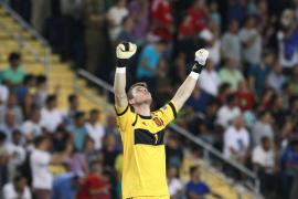 Spain's goalkeeper de Gea celebrates goal against Italy during their European Under-21 Championship final soccer match in Jerusa