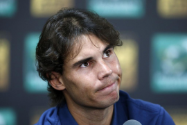 Rafael Nadal of Spain reacts during a news conference in Paris