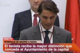 Nadal, nombrado Hijo Adoptivo de Madrid por  «ser un gran deportista a fuerza de ser una buena persona»