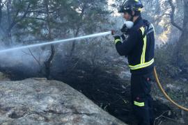 Incendio en una área forestal entre el Port de Sant Miquel y Na Xamena