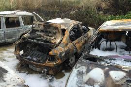 Arden cinco vehículos en ses Feixes de Vila y unos 500 metros cuadrados de cañaveral