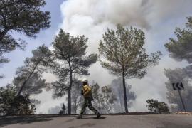 Un centenar de vecinos del puerto de Sant Miquel han sido evacuados de sus casas por un incendio forestal