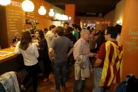 Militantes de la CUP celebran en Palma el resultado electoral
