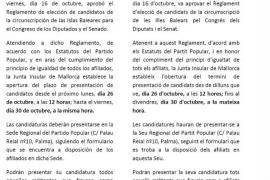 El PP invita por carta a sus militantes a que se presenten como candidatos