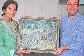 María Luisa Medina dona un cuadro suyo al Ayuntamiento de Sant Antoni de Portmany