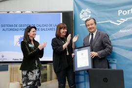 La Autoridad Portuaria de Balears recibe el certificado Aenor de gestión de calidad ISO 9001