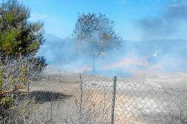 Una quema de rastrojos en Sant Josep acaba afectando 300 metros2 de terreno