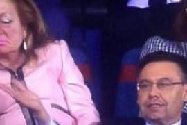 La esposa de Villar se duerme en el palco durante la Copa del Rey