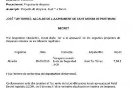 El alcalde de Sant Antoni pasa a las arcas municipales un tique de 7,70 euros