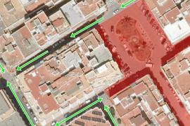 Santa Eulària cambia el sentido del tráfico por las obras en la plaza del cañón
