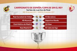 El Real Madrid-Celta y Real Sociedad-Barcelona, en cuartos de final de la Copa del Rey