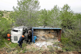 Un camión cargado con ocho toneladas de material se precipita por una ladera en Roca Llisa