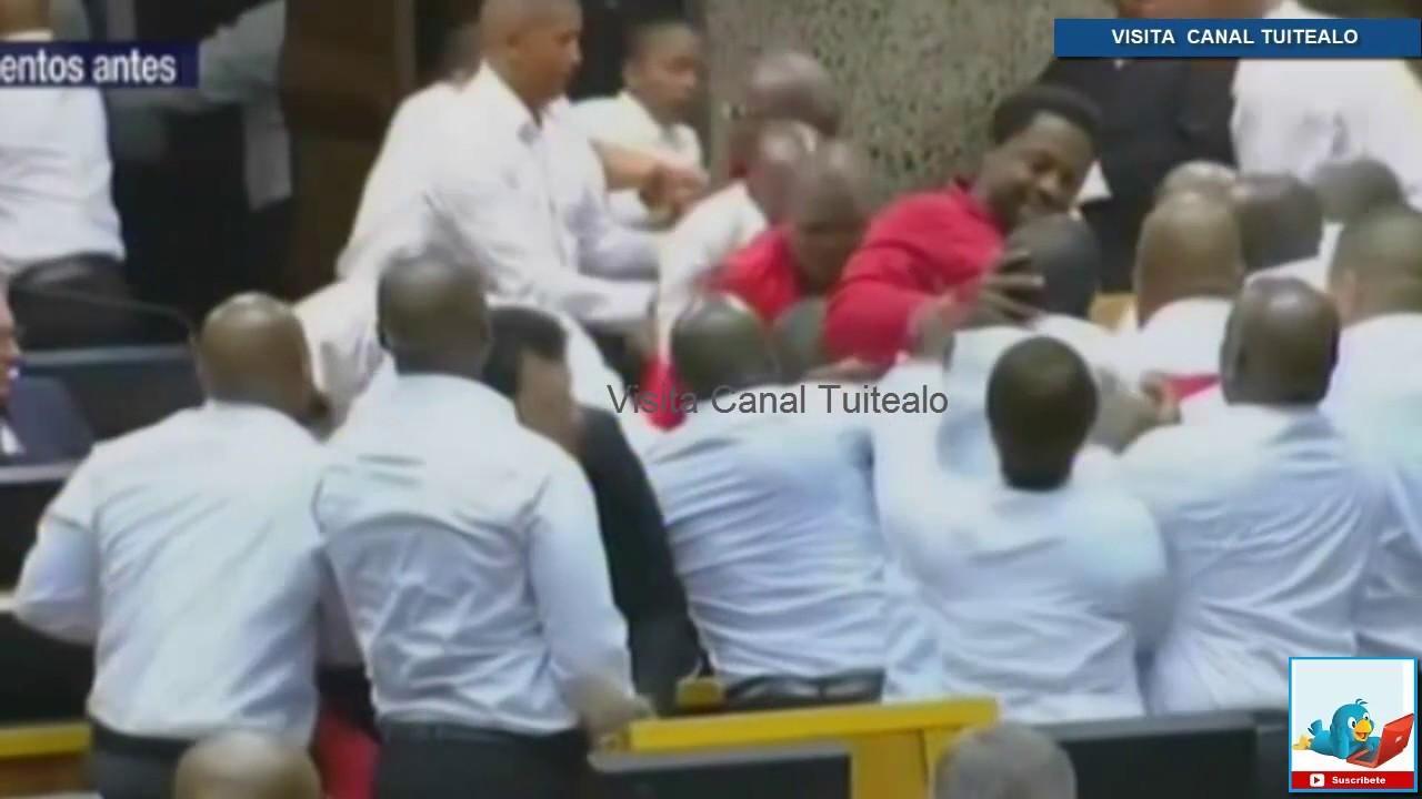 Batalla campal en Parlamento sudafricano