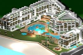 Arriba, una recreación del proyecto de hotel con beach club. Abajo, el alcalde 'josepí' Josep Marí Ribas 'Agustinet'.