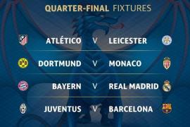 Atlético de Madrid-Leicester, Real Madrid-Bayern Múnich y Barcelona-Juventus, en cuartos de la Champions League