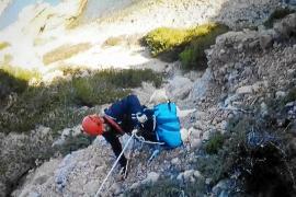 Los bomberos rescatan a una perra atrapada en un acantilado de Cala Llonga