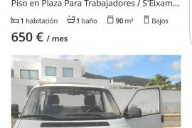 Fotocasa elimina un anuncio que ofertaba una furgoneta como vivienda en Ibiza por 650 euros al mes