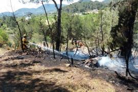 Bomberos y brigadas del Ibanat trabajan en la extinción de un incendio en Sant Agustí