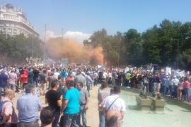 Carga policial por la manifestación de los taxistas en Madrid
