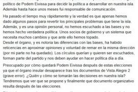 Salva Aguilera dice que Podem Eivissa no ha «escuchado a las bases» ni ha hecho «verdadera política»