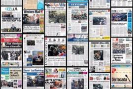 Las cargas policiales en Cataluña, imagen de portada en buena parte de la prensa europea