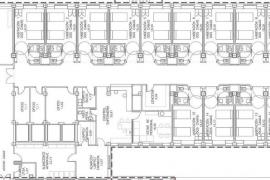 Imagen del plano definitivo correspondiente a la planta primera de la Unidad Polivalente donde estaba la antigua maternidad.
