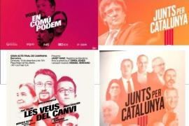 Iglesias y Domènech acusan a JuntsxCat de plagiar sus carteles de campaña