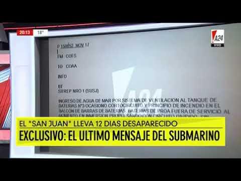 Un 'último mensaje' del submarino desaparecido contradice la versión dada por la Armada