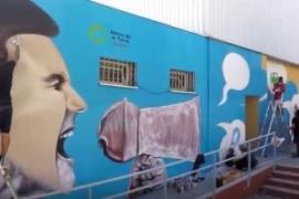 Un grafiti de Jerom para reivindicar un modelo energético sostenible en Ibiza
