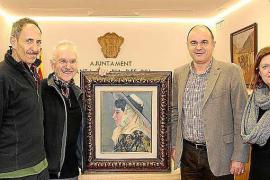 Dos promotores culturales donan a Santa Eulària un cuadro de Laureà Barrau
