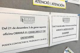 La oficina del Ibavi en Ibiza se marcha dos semanas de vacaciones