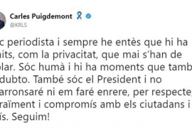 """Puigdemont admite que él también puede dudar pero afirma: """"No me encogeré ni me echaré atrás"""""""