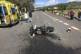Herido grave un motorista tras chocar contra un coche en la carretera de Sant Joan