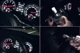 Denuncian a un conductor que se grabó bebiendo ginebra a 200 kilómetros/hora