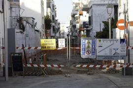 Segunda fase de las obras de peatonalización de Santa Eulària (Fotos: Daniel Espinosa).