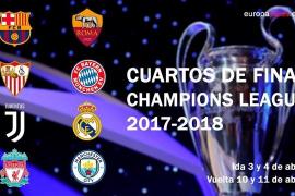 Juventus-Real Madrid, Barcelona-Roma y Sevilla-Bayern, cuartos de final de la Champions