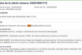 El SOIB oferta un empleo en Ibiza por 100 euros brutos al mes