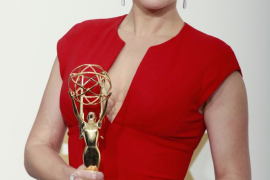 """Kate Winslet holds her Emmy award for outstanding lead actress in a miniseries or a movie for """"Mildred Pierce"""" backstage at the"""