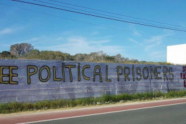 Grafitis en Formentera a favor de la república catalana