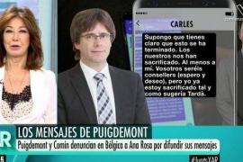 Ana Rosa Quintana responde a la denuncia de Puigdemont contra ella