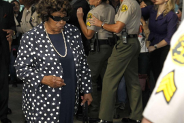 Katherine Jackson arrives during the opening day of Dr. Conrad Murray's trial in the death of pop star Michael Jackson in Los An