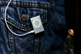 File photo of Apple CEO Steve Jobs introducing smaller version of iPod Shuffle in San Francisco