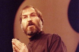 File photo of Apple Inc. CEO Steve Jobs delivering the keynote speech at the MacWorld Expo at San Francisco's Marriott Hotel
