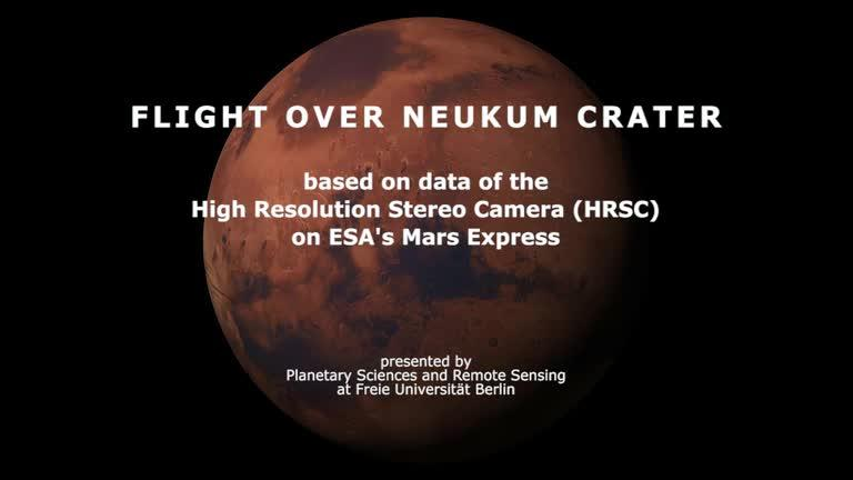 Vuela sobre el gran cráter Neukum de Marte