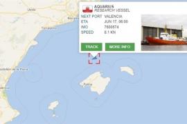 El Aquarius navega en aguas españolas y prevé llegar este domingo al puerto de Valencia