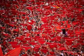 Incidente entre jóvenes con pancartas a favor de ETA en el chupinazo de San Fermín 2018